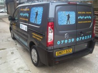 Mcqillian Signs | Window Cleaner's Van - Lettering & layout designed by us, and fixed using Self-Adhesive Vinyl.